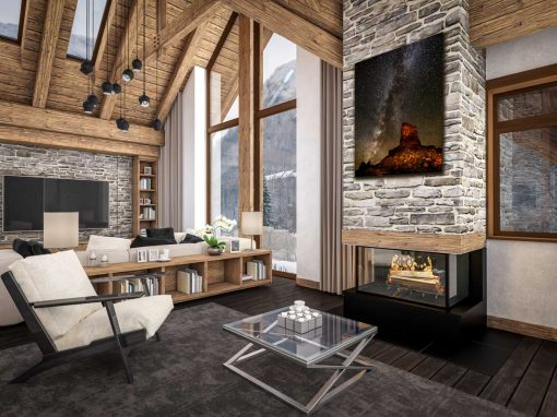 Metal Print in a Mountain Lodge